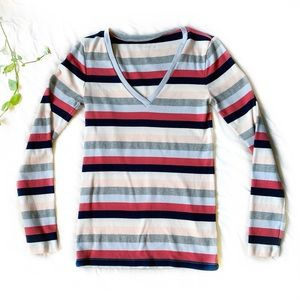 J. Crew Striped Perfect Fit Long Sleeve Tee - pink